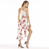 High Low Straps Flower Dress with Lace Back