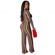 Sexy Deep-V Stripes Colorful Jumpsuit