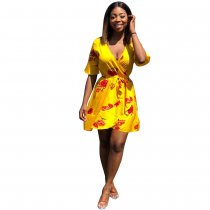 Yellow Floral Wrap Dress with Belt
