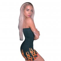 Print Black Strapless Bodycon Rompers