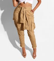 Stylische Khaki Knot Pocket Hose