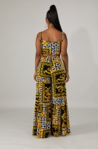 Print Retro Straps Crop Top and High Waist Trousers