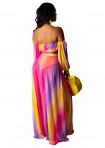 Colorful Strapless Top and Maxi Skirt
