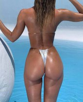 Silver Metallic Sexy Thong Swimwear