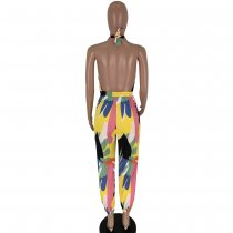 Print Colorful Drawstring Halter Jumpsuit