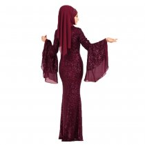 Sequins Wide Sleeves Mermaid Evening Dress without Scarf
