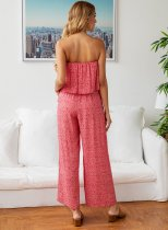 Print Strapless Overlay Loose Jumpsuit