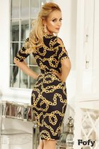 Print Black Keyhole Midi Dress