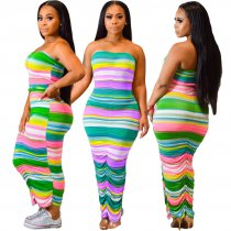 Colorful Stripped Strapless Long Dress