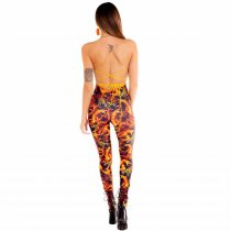 Print Flame Club Halter Jumpsuit