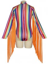 Colorful Strippes Tassels Bodysuit