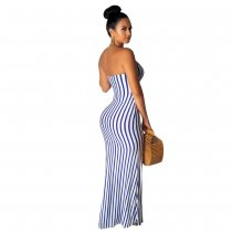 Strapless Cut Out Strippes Long Dress