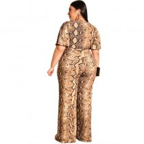 Plus Size Snake Skin Wrap Jumpsuit