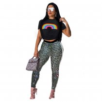 Zwarte legging met crop top en pailletten