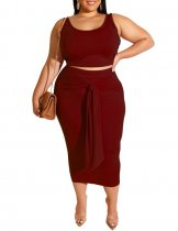 Plus Size Pure Color Tank Top and Knot Midi Skirt