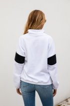 Long Sleeve Contrast Sweat Top with Stand Collar