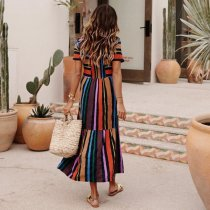 Stripes Colorful O-Neck Long Summer Dress