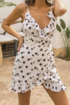 Stars Print Straps Wrapped Casual Dress
