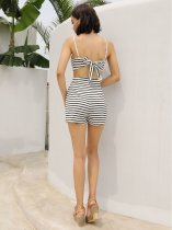 White and Black Stripes Straps Sexy Rompers
