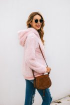 Pink Plush Hoody Top with Front Pocket