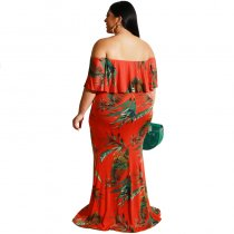 Plus Size Off Shoulder Floral Mermaid Long Dress