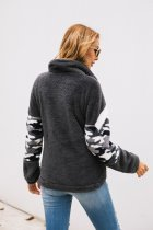 Zipper Up Long Sleeve Pullover Plush Tops