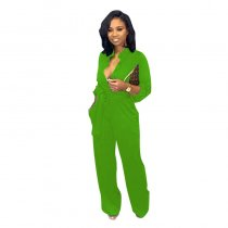 Button Up Long Sleeve Pure Jumpsuit with Belt