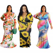 Plus Size Floral Print Wrapped Maxi Dress
