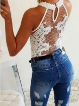 White Scoop Neck Applique Dot Bodysuit