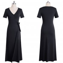 Plain Solid Short Sleeves Wrapped Long Dress