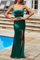 Plain Solid High Waist Straps Long Smooth Evening Dress