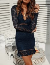 Full Lace Long Sleeve Deep-V Mermaid Dress