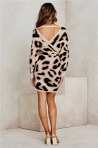 Leopard Wrapped Sweater Dress with Belt
