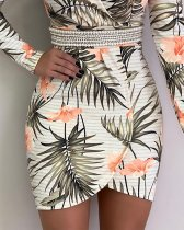 Floral Print Long Sleeve Wrapped Mini Dress