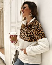Leopard Print Polar Fleece Pullovers with Stand Collar