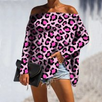 Leopard Print Off Shoulder Long Sleeve Shirt