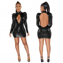 Sexy Cut Out Sequins Long Sleeve Club Dress