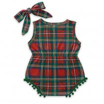 Baby Girl Plaid Print Sleeveless Rompers with Headband
