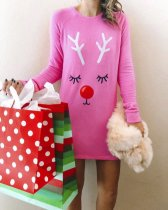 Print Pink Christmas Shirt Dress