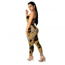 Gold and Black Print Straps Bodycon Jumpsuit