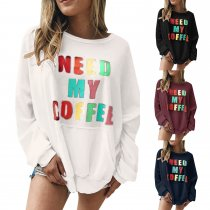 Print Long Sleeve Loose Sweat Shirt