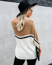 Contrast O Neck Pullover Sweater