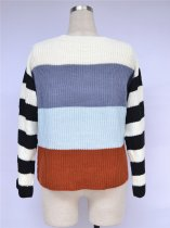 Contrast O Neck Loose Sweaters