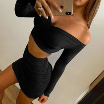 Plain Color Strapless Ruched Crop Top and Mini Skirt