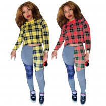 Plaid Long Sleeve Crop Top and Patchwork Pants