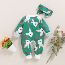 Baby Girl Rabbit Print Rompers with Headband