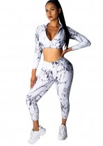 Sports White and Black Print Crop Top and Leggings