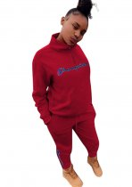 Sports Print High Neck Long Sleeve Sweat Suit