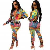 Print Colorful Sexy Tight Tracksuit