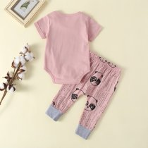 Costume fille rose pantalon costume